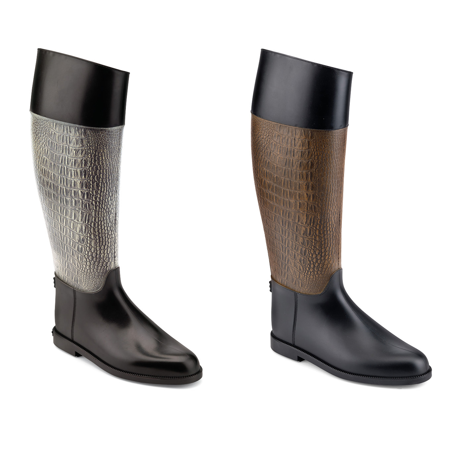 Colours and effect on pvc Coloured varnishing and antique brush finish enhancing the crocodile print on the pvc Riding boot model
