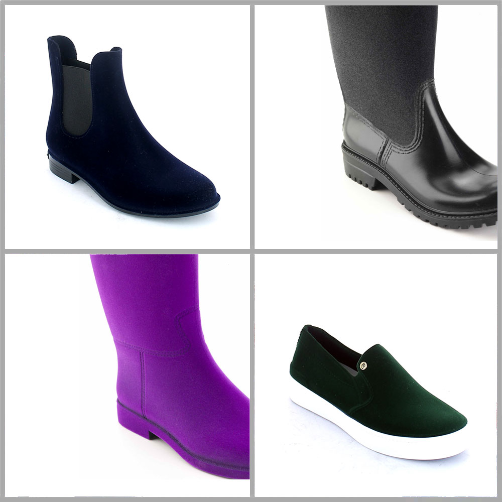 Colours and effect on pvc Flocking, with velvet effect, which can be carried out either on the entire shoe surface or just on a part of the shoe