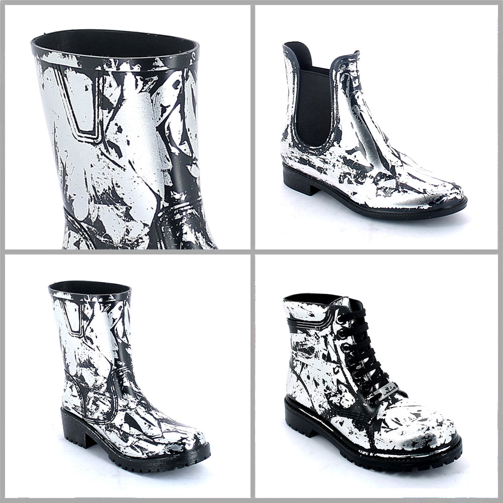 Colours and effect on pvc Silver Lamina in foglia on pvc shoes with black colour surface