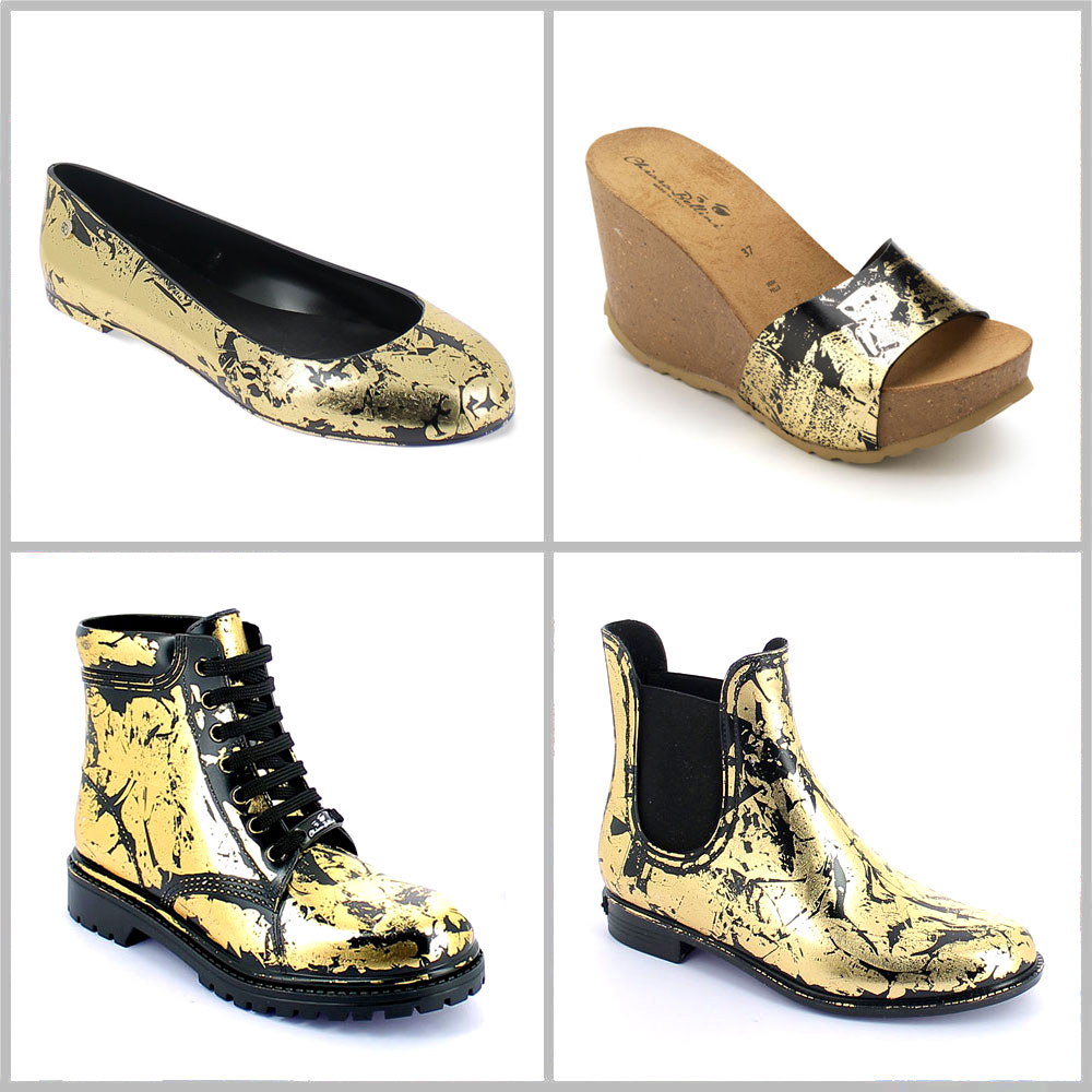 Colours and effect on pvc Gold Lamina in foglia on pvc shoes with black colour surface