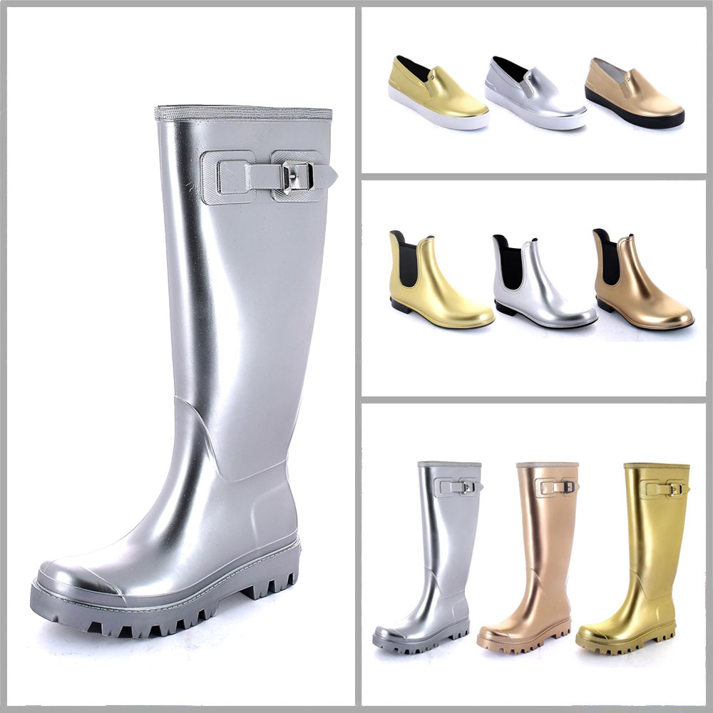 Colours and effect on pvc Plain laminated Varnishing in colours silver, gold and bronze realized on a wellington boot with lug outsole, on chelsea boot and on a slip on shoe