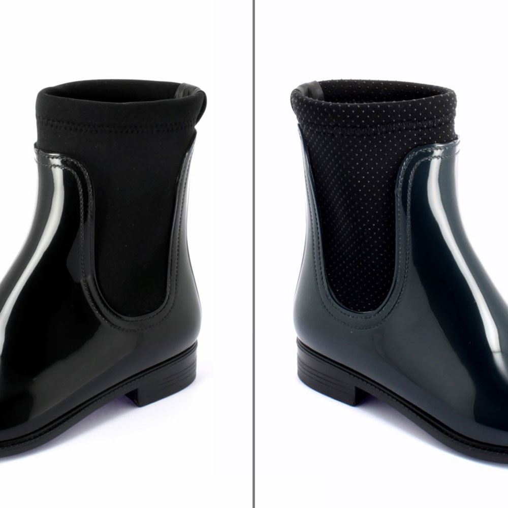 Elastic bands and elasticized linings Chelsea boot entirely lined with a neoprene inner sock with smooth surface or with rubber pois