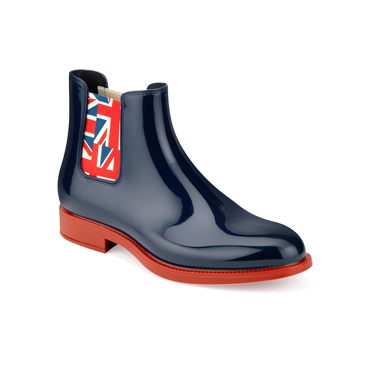 Elastic bands and elasticized linings Elastic band with English flag drawing on chelsea boot for men with blue pvc vamp and red outsole