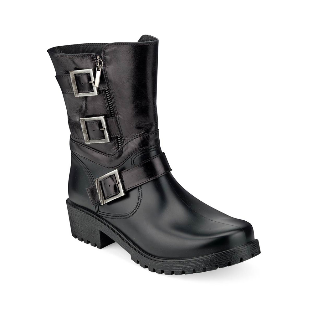 Black calf leather bootleg stitched on the shell of a biker boot for men.
