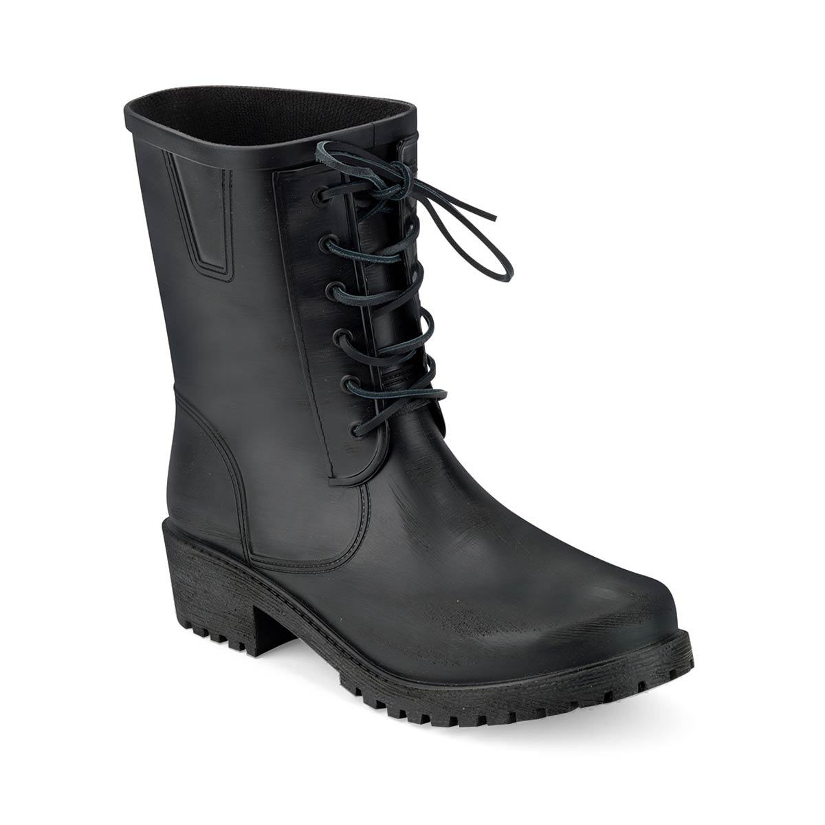 Pvc front lace-effect insert with brushed finish and black leather tie, stitched on biker boot for men