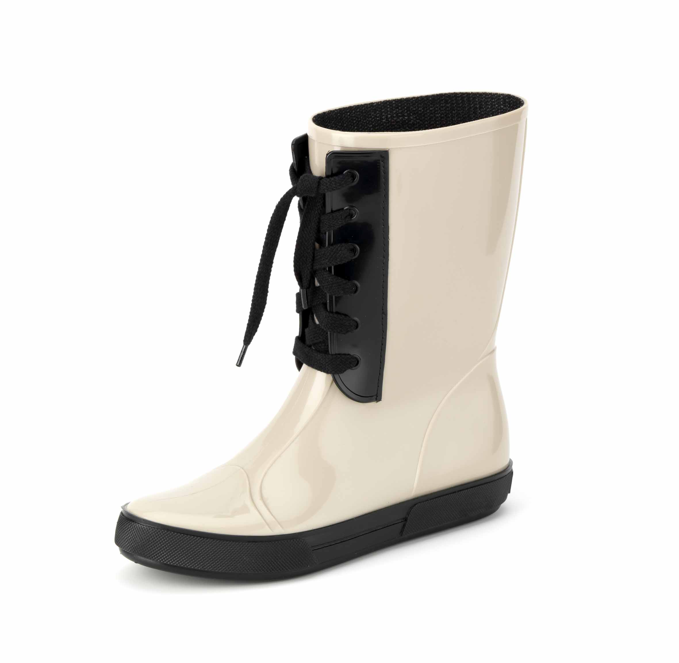Pvc front lace-effect insert matching with outsole colour and with leather tie, stitched on a biker boot for women