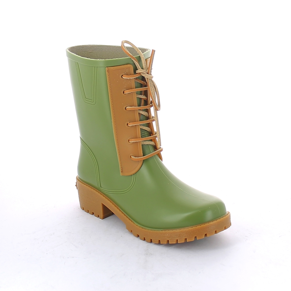 Solid colour pvc front lace-effect insert with leather tie, stitched on a biker boot for women